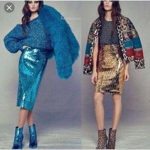 Blue Mongolian fur teal jacket coat XS S